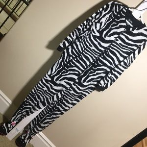 Adult Zebra Onesie footed pajamas